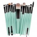 Sankuwen 15PCs Wool Makeup Brush Set Tools Toiletry Kit (Green-Black)