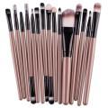 Sankuwen 15PCs Wool Makeup Brush Set Tools Toiletry Kit (Gold-Black)