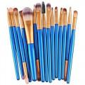 Sankuwen 15PCs Wool Makeup Brush Set Tools Toiletry Kit (Blue-Gold)