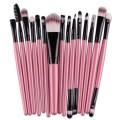Sankuwen 15PCs Wool Makeup Brush Set Tools Toiletry Kit (Pink-Black)