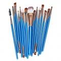 Sankuwen 15PCs Wool Makeup Brush Set Tools Toiletry Kit (Blue-Coffee)