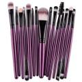 Sankuwen 15PCs Wool Makeup Brush Set Tools Toiletry Kit (Purple-Black)