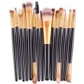 Sankuwen 15PCs Wool Makeup Brush Set Tools Toiletry Kit (Black-Gold)