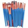 Sankuwen 15PCs Wool Makeup Brush Set Tools Toiletry Kit (Blue-Brown)